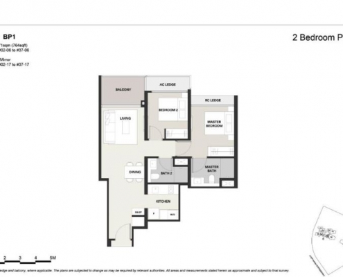Clavon Condo Floor Plan 2 Bed 2 Bath (Type BP1)