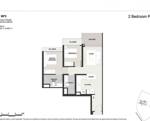 Clavon Condo Floor Plan 2 Bed 2 Bath (Type BP2)