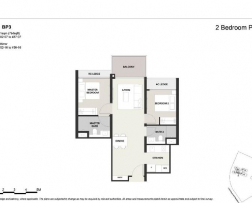 Clavon Condo Floor Plan 2 Bed 2 Bath (Type BP3)
