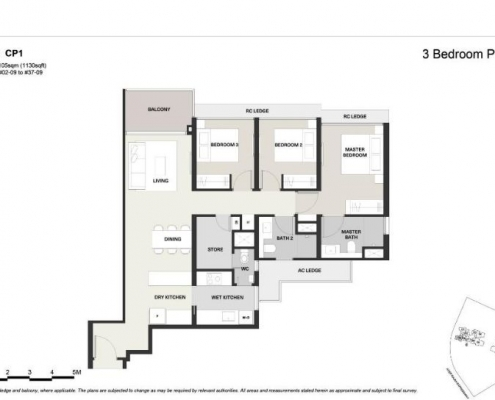 Clavon Condo Floor Plan 3 Bedroom Premium (Type CP1)