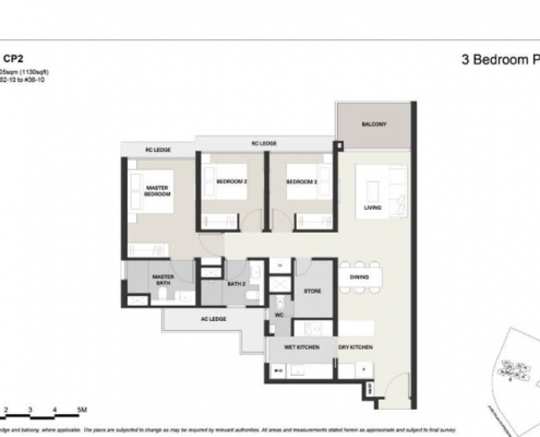 Clavon Condo Floor Plan 3 Bedroom Premium (Type CP2)