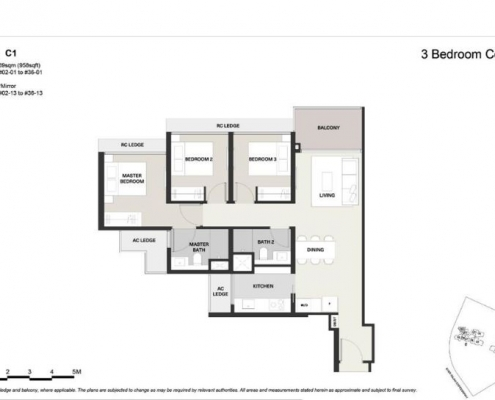Clavon Condo Floor Plan 3 Bedroom (Type C1)
