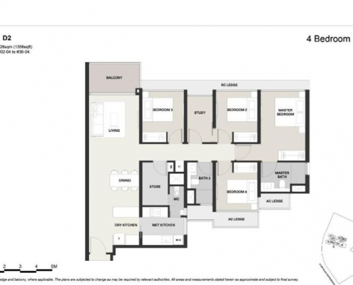 Clavon Condo Floor Plan 4 Bedroom Plus Study (Type D2)