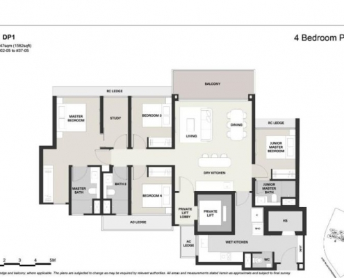 Clavon Condo Floor Plan 4 Bedroom Premium (Type DP1)