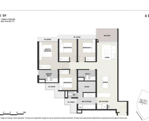 Clavon Condo Floor Plan 4 Bedroom (Type D1)