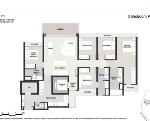 Clavon Condo Floor Plan 5 Bedroom Premium (Type E1)