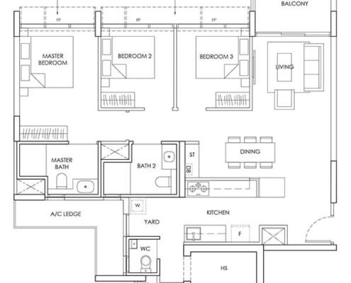3-Bedroom-Type-C5-1066sqft