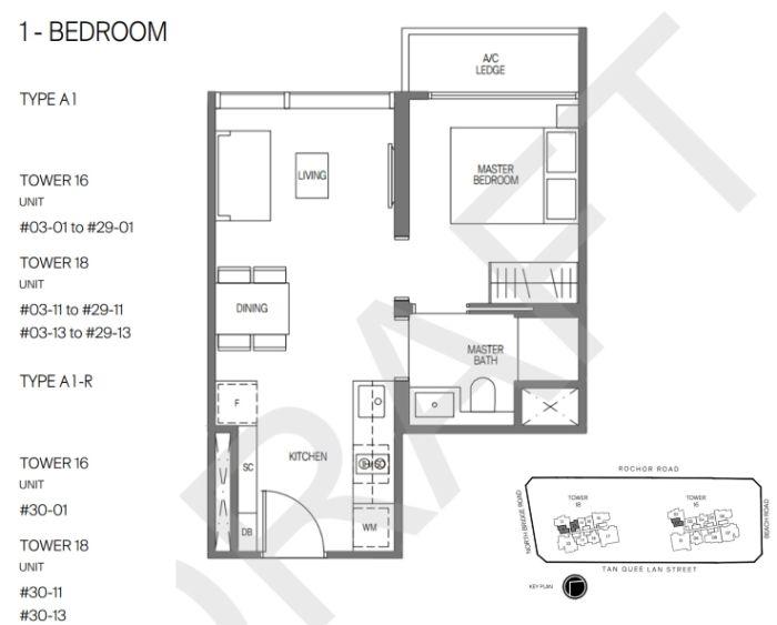 Midtown Modern Floorplan 1 Bedroom
