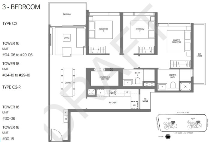 Midtown Modern Floorplan 3 Bedroom