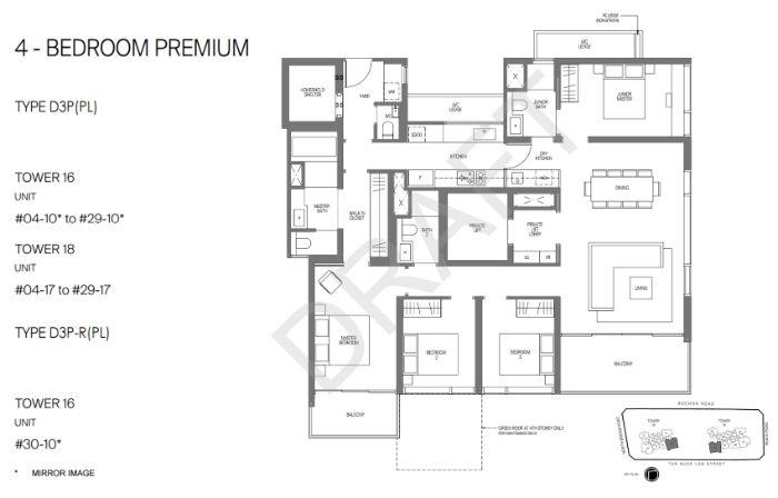 Midtown Modern Floorplan 4 Bedroom Premium