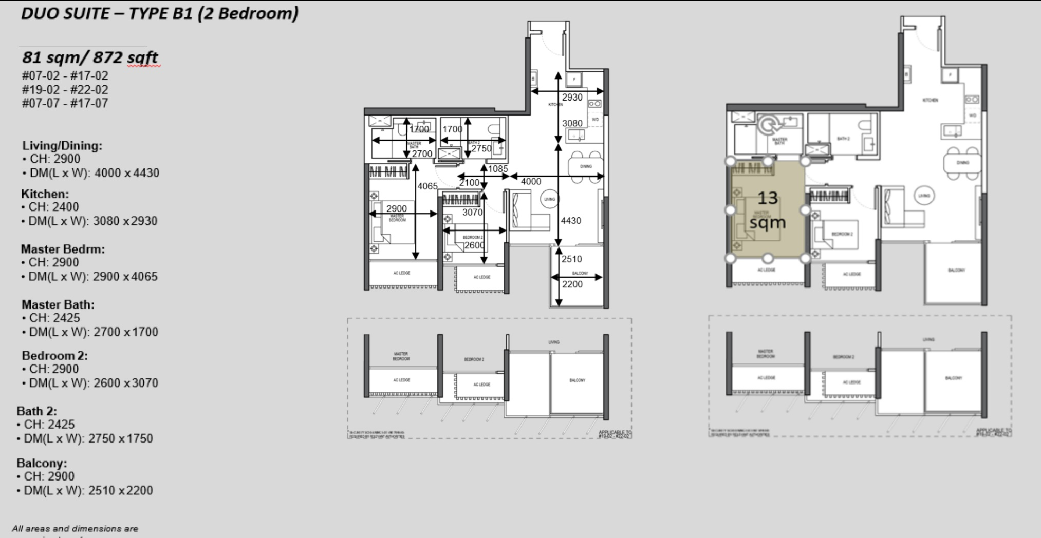 The Atelier condo floorplan 2 bedroom Type B1