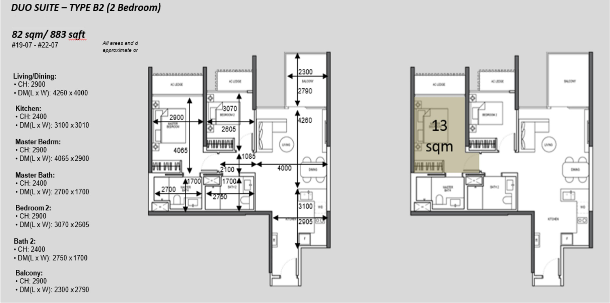 The Atelier condo floorplan 2 bedroom Type B2