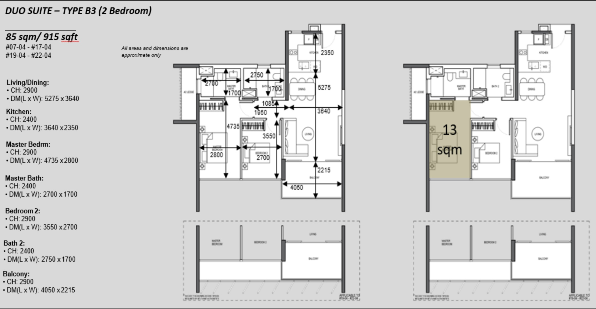 The Atelier condo floorplan 2 bedroom Type B3