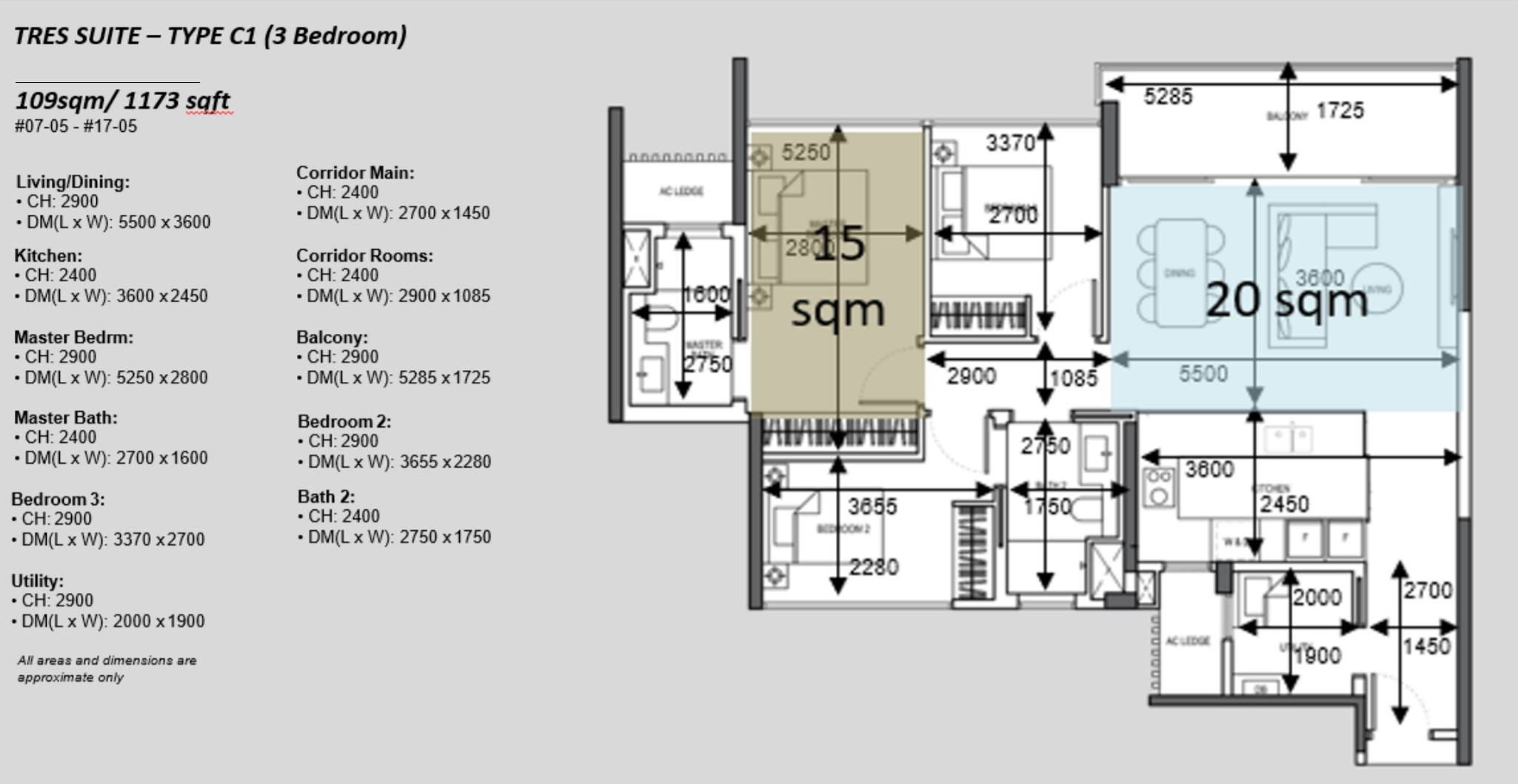 The Atelier condo floorplan 3 bedroom Type C1