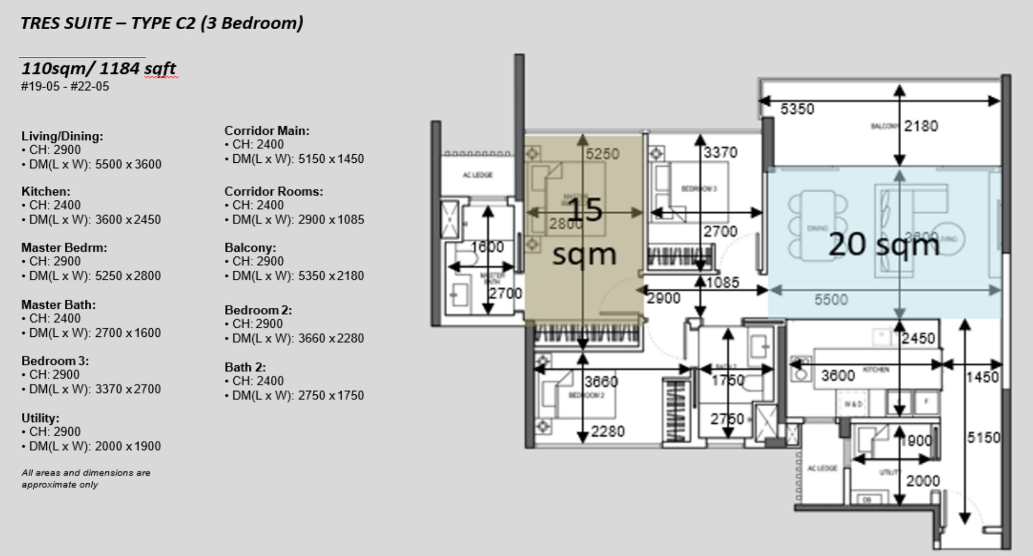 The Atelier condo floorplan 3 bedroom Type C2