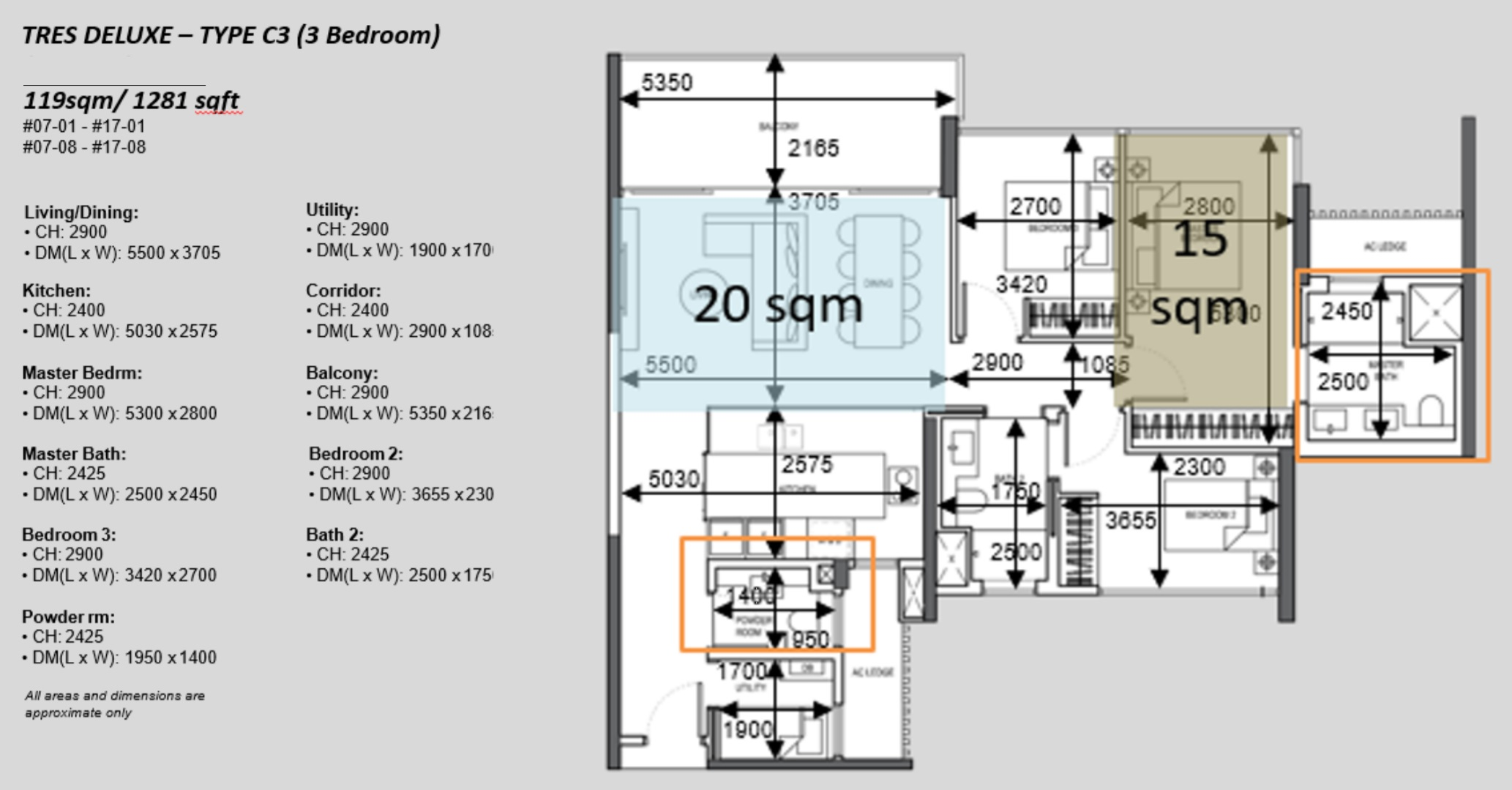 The Atelier condo floorplan 3 bedroom Type C3