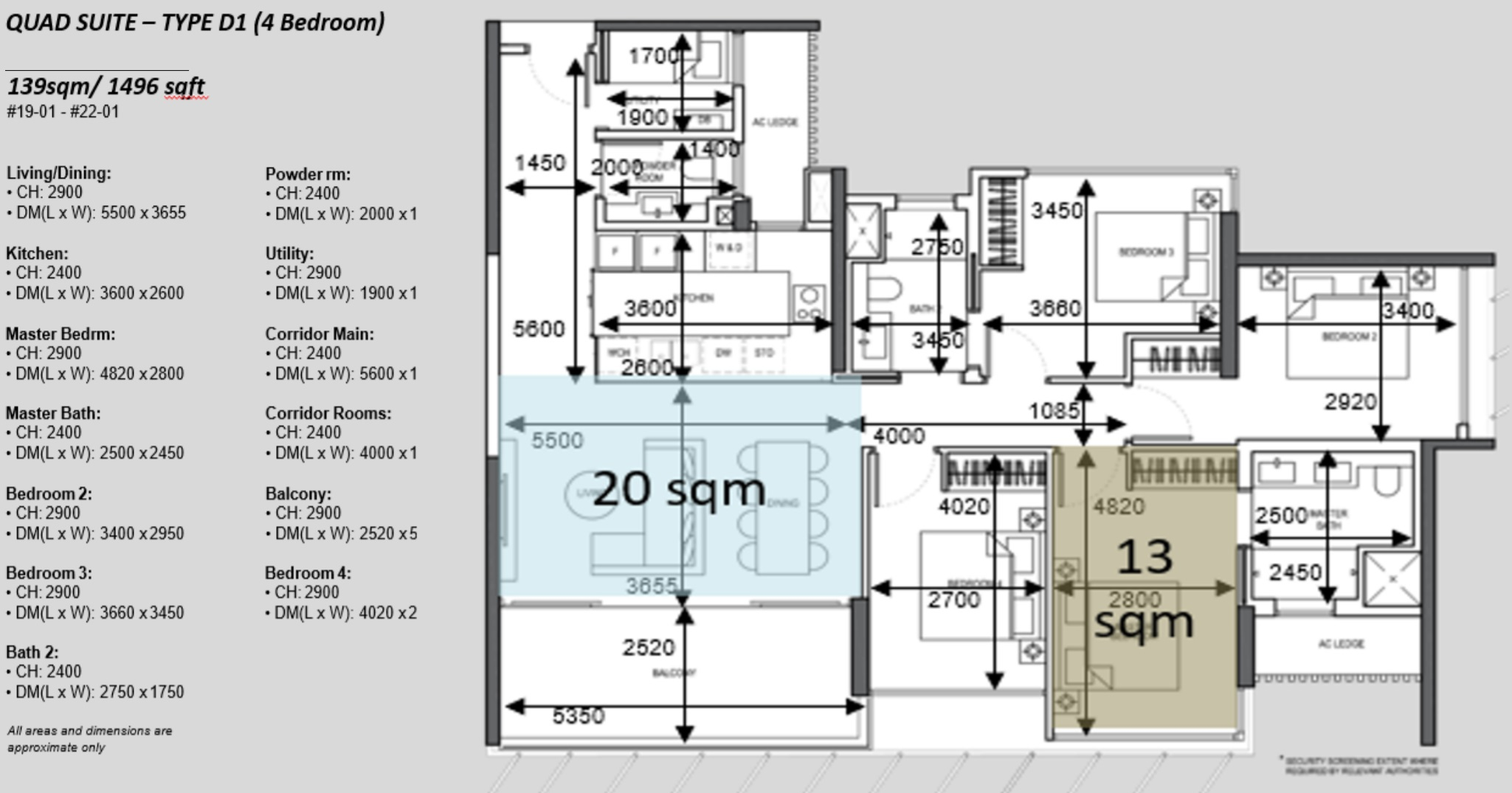 The Atelier condo floorplan 4 bedroom Type D1