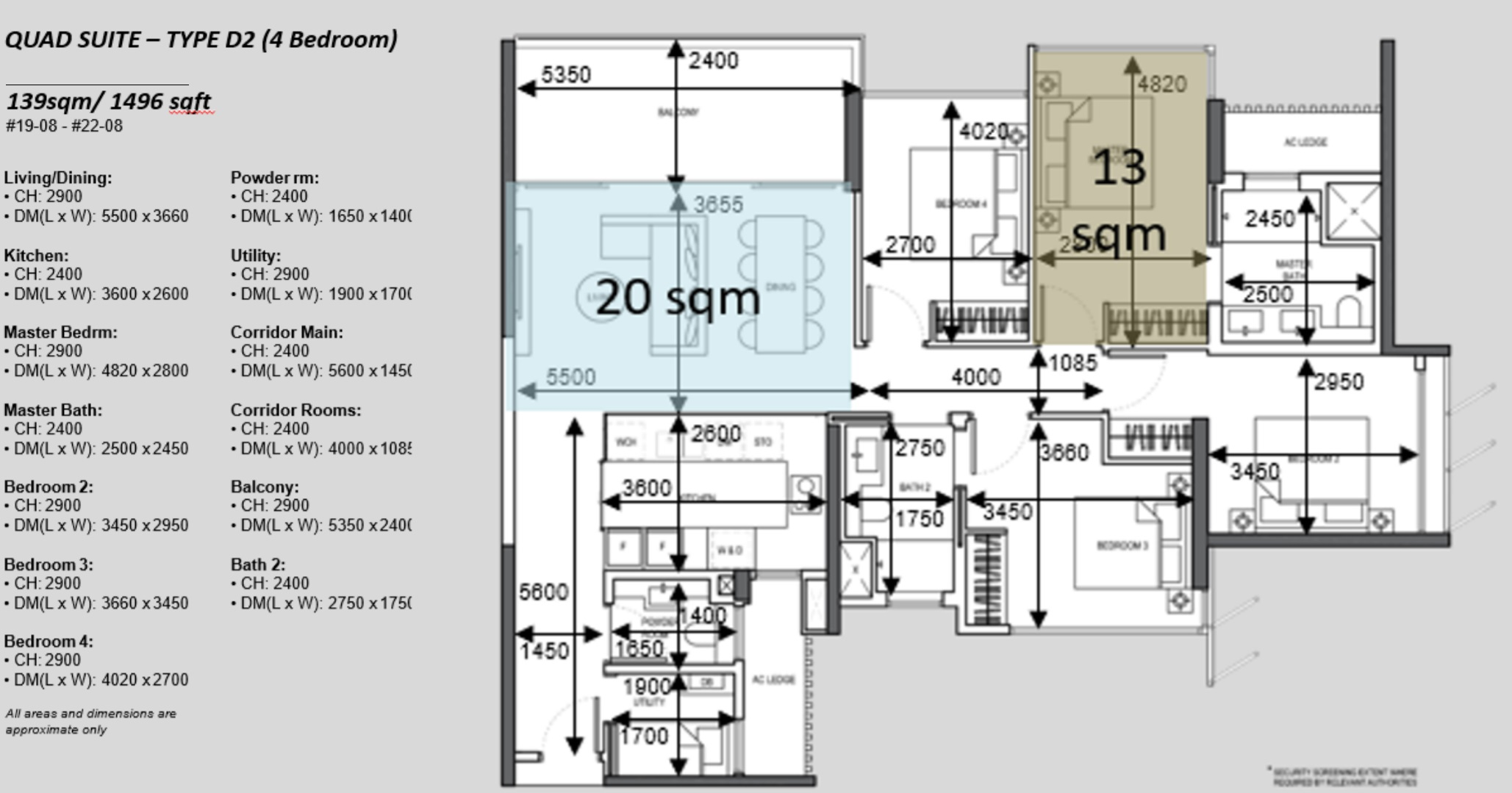 The Atelier condo floorplan 4 bedroom Type D2