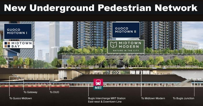 New Underground Pedestrian Network Guoco Midtown Modern to Bugis MRT